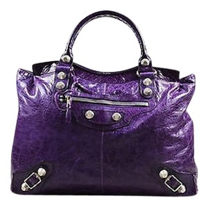 Balenciaga Wrinkled Distressed Leather Silver Tone Stud Giant Step Satchel in Purple