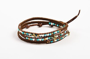 Chan Luu Chan Luu Gold Plated Sterling Silver Brown Leather Stone Bead Wrap Bracelet