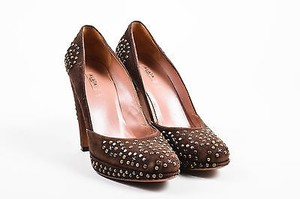ALAA Alaia Suede Studded Brown Pumps