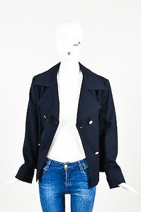 Escada Navy Wool Double Breasted Blue Jacket