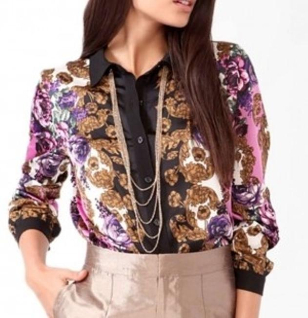 Forever 21 Scarf Print Top Purple