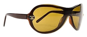 Chanel Chanel Brown Gold Tone Cc Accent Oval 5066 Shield Lens Sunglasses
