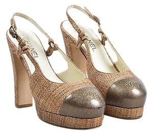 Chanel Taupe Patent Woven Tan Pumps