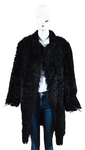 Marni Shearling Shaggy Fur Leather Long Sleeve Jacket Coat
