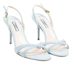 Prada Light Suede Open Blue Sandals