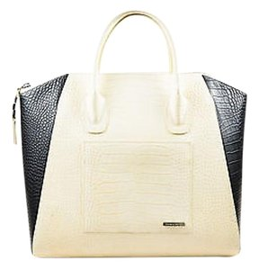 Thomas Wylde Wylde Black Embossed Leather Documentation Tote in Cream