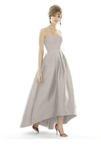 Alfred Sung Solid Oyster Gray D669 Strapless Oyster Gray High-low Skirt Dress