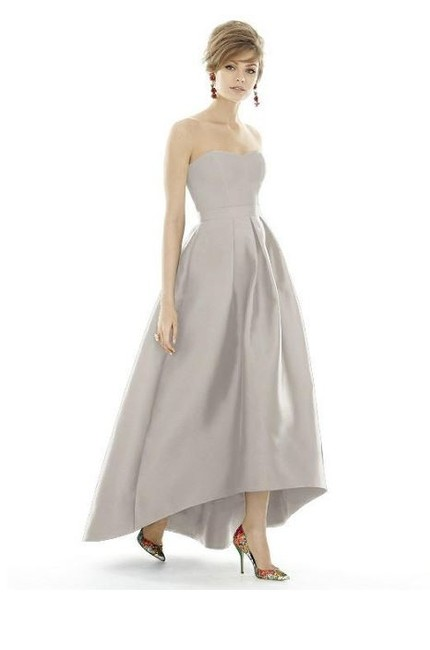 Item - Solid Oyster Gray Sateen Twill D669 Strapless High-low Skirt Modern Bridesmaid/Mob Dress Size 10 (M)