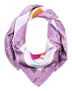 Moschino Moschino Purple Multicolor Silk Gardening Print Square Scarf