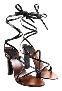 Gucci Brown Leather Black Sandals