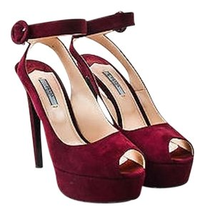 Prada Maroon Suede Ankle Red Pumps