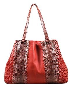 Bottega Veneta Woven Tote in Red