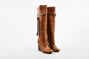 Chloé Chloe Leather Tall Tie Brown Boots