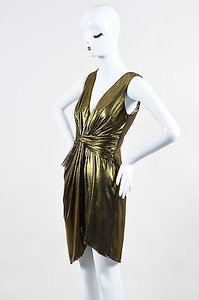 Halston short dress Gold Heritage Black Lame Ruched on Tradesy