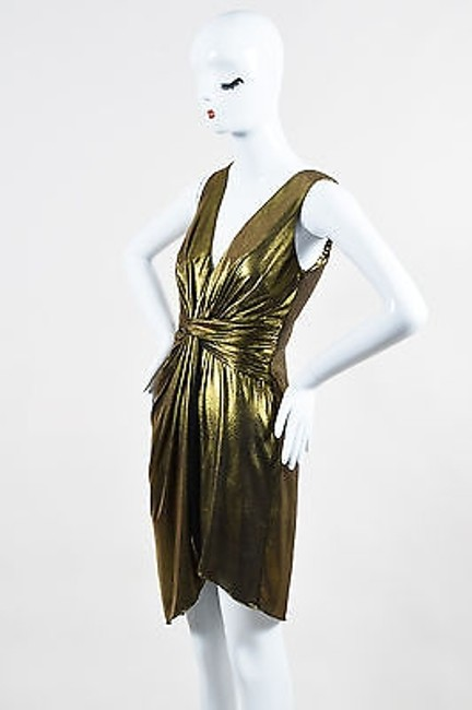 Item - Gold Heritage Black Lame Ruched Draped Sleeveless Mid-length Short Casual Dress Size 4-s