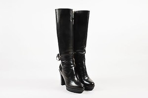 Valentino Garavani Leather Detail Lug Sole Tall Black Boots