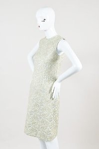 Rochas Mint Gold Silver Brocade Sleeveless Sheath Dress