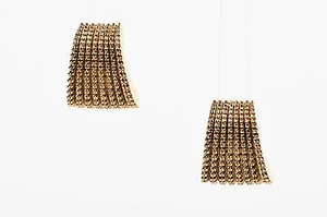 St. John St. John Gold Tone Textured Clip On Earrings