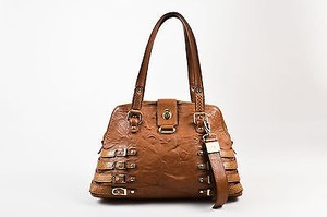 Jimmy Choo Leather Snakeskin Trim Bree Dome Satchel in Brown