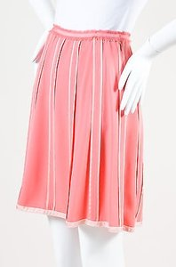 Marc Jacobs Silk Striped Skirt Pink