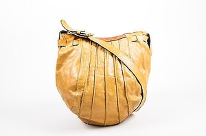 Max Mara Leather Distressed Sack Shoulder Bag
