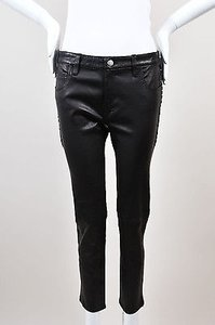 IRO Grommet Trim Woven Ankle Crop Waren Leather Pants