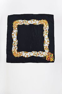 Chanel Chanel Black White Silk Gripoix Pearl Jewelry Print Square Scarf