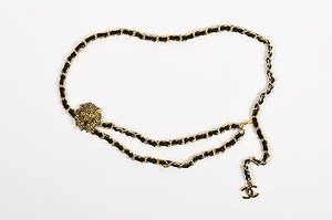 Chanel Chanel Gold Tone Black Leather Link Crystal Embellished Lion Cc Chain Belt