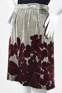 Etro Gray Maroon Crushed Skirt Multi-Color