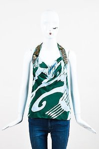 Dries van Noten Green Blue Silk Printed Bead Embellished Sl Halter Multi-Color Halter Top