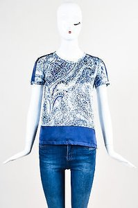 Etro White Stretch Silk Top Blue