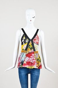 Etro Black Red Yellow Silk Top Multi-Color