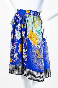 Etro Blue Red Green Silk Skirt Multi-Color