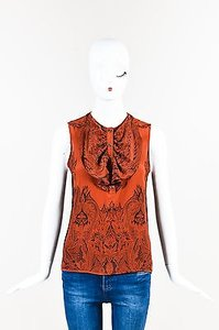 Etro Black Silk Top Orange