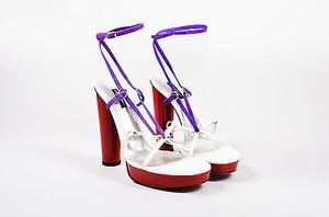 Dolce&Gabbana Red White Patent Suede Wrap Strap Multi-Color Sandals