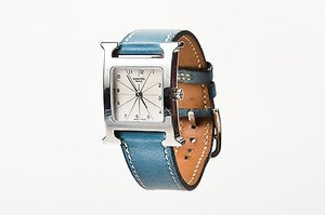 Hermès Hermes Blue Jean Stainless Steel Leather Strap Heure H Pm Wrist Watch