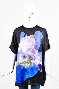Givenchy Black Blue Pink Cotton Mixed Media Flower Graphic Ss Top Multi-Color