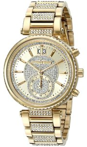 Michael Kors Sawyer Champagne Crystal Pave Dial Gold-Tone Steel Ladies Watch MK6308