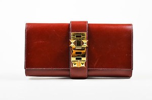Hermès Oxblood Box Calf Leather Gold Tone Stud Medor 29cm Red Clutch