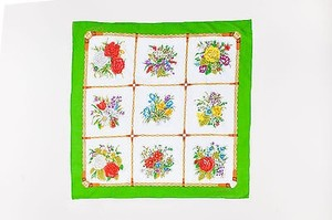 Gucci Gucci Green White Multicolor Cotton Floral Bouquet Print Cotton Square Scarf