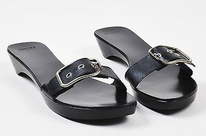 Hermès Hermes Leather Buckle Black Sandals