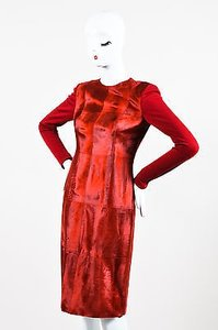 Akris short dress Red Leather Fur Wool Patchwork Contrast Long Sleeve Sheath on Tradesy