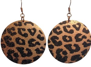 Charlotte Russe Gold & Black Cheetah Print Round Earring