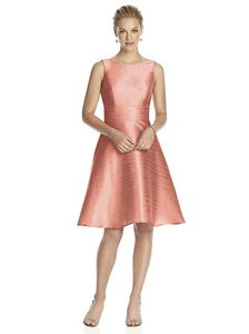 Alfred Sung Fresco Coral Dupioni D681 Modern Bridesmaid/Mob Dress Size 8 (M)