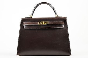 Hermès Box Calf Leather Gold Tone Sellier Kelly Cm Satchel in Brown