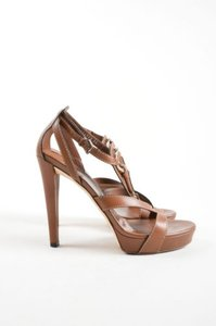 Gucci Gold Tone Leather Brown Sandals