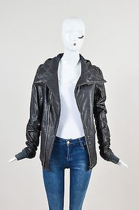Rick Owens Leather Hooded Moto Motorcycle Jacket