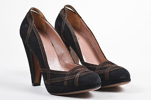 ALAÏA Alaia Brown Suede Platform Black Pumps