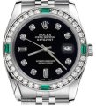 Rolex Women's Rolex 31mm Datejust Black Color Dial 8+2 Emerald Diamond Image 0