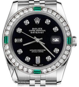 Rolex Women's Rolex 31mm Datejust Black Color Dial 8+2 Emerald Diamond